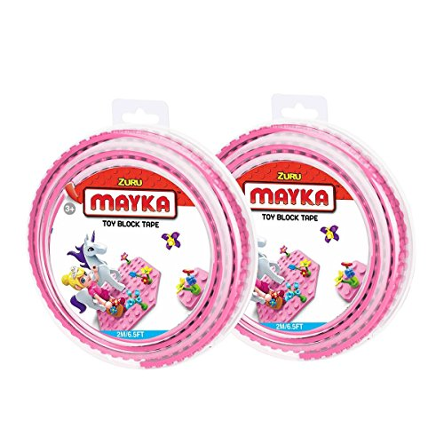 Mayka Toy Block Tape - 2 Stud - Pink - 6 Feet - 2 Pack (Compatible with Lego)