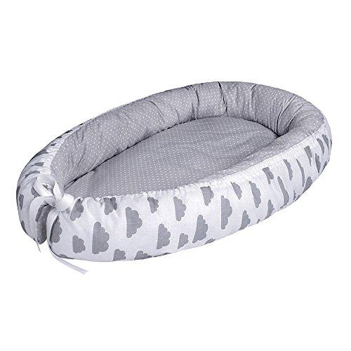 LULANDO Baby-Nest cocon pour bébé/nourrisson, cocon à usage multiple, coussin pour bébé, couffin de voyage portable, 100 % coton, anti-allergique, certificat Oeko-Tex, dimensions: 80cm x 45cm x 15cm
