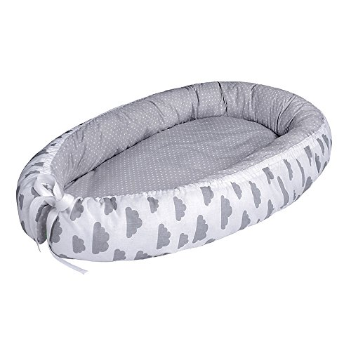 LULANDO Babynest, multifunktionales Kuschelnest für Babys und Säuglinge, Nestchen, Reisebett, 100% Baumwolle, antiallergisch, Standard 100 von Oeko-Tex, hergestellt in der EU, Maße: 80cm x 45cm x 15cm