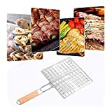 Miklan Foldable Barbecue Grilling Basket Iron Wire BBQ Net Steak Meat Fish Vegetable Clip Holder Grill Basket for Outdoor BBQs, Camping
