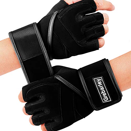 Grebarley Workout Gloves Breathable Weight Lifting Gloves Gym Gloves Grip Gloves Fitness Gloves with Full Wrist Strap for Men & Women, Enough Palm Protection and Strong Grip (Black, M)