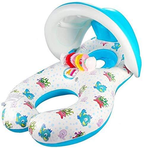 Tokki Dubbele Ring Opblaasbare Mama En Baby Zwembad Float Met Kleurrijke Cirkels Klokken, 1-3 Jaar (Afneembare Luifel/Zonder Luifel) (Met luifel)