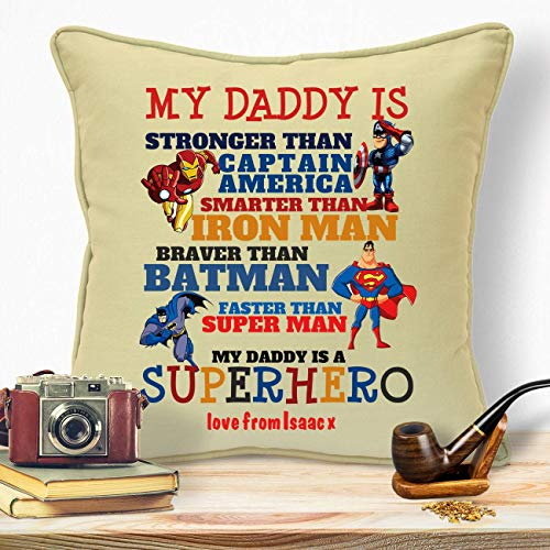 Personalised Presents Gifts For Dad Daddy Step Dad Husband Fathers Day Birthday Christmas From Son Daughters Wife Kids Newborn Baby Superhero Batman Home Decor Sofa Cushion Covers Throw Pillows