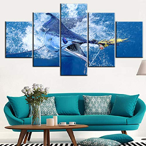 Framed Wall Art Big Swordfish in Sea Picture for Living Room Fishing Paintings Fish Blue Seascape Artwork 5 Panel Prints on Canvas Giclee Rustic Home Decor Gallery-Wrapped Ready to Hang(60''W x 32''H)