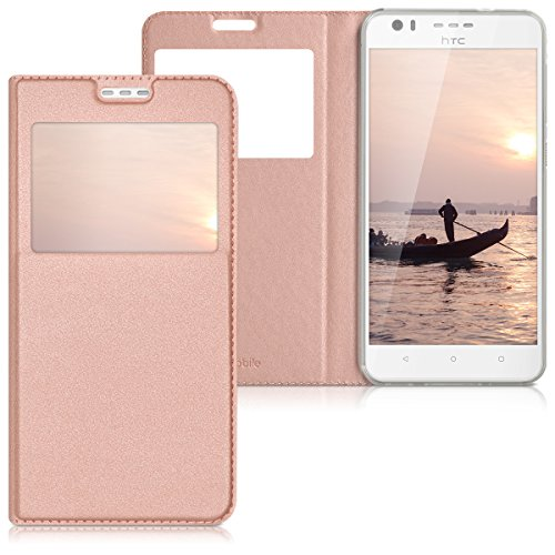 kwmobile Flip Case Compatible with HTC Desire 10 Lifestyle - PU Leather Book Style Wallet Cover with Window - Rose Gold