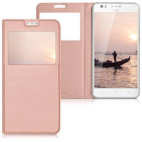 kwmobile Hülle für HTC Desire 10 Lifestyle - Bookstyle Case Handy Schutzhülle Kunstleder mit Sichtfenster - Flipcover Klapphülle Rosegold