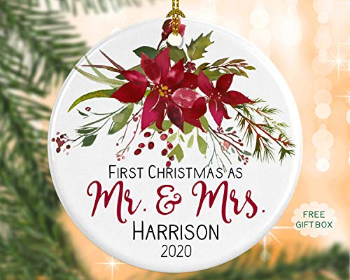 Personalised First Christmas As Mr. And Mrs. Ornament Married Wedding Ornaments First Year Married Newlywed Gift Poinsettia Ornament Custom Name Year 3' Porcelain Ceramic Ornament