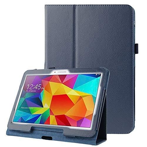 subtel® Tablethülle Tasche kompatibel mit Samsung Galaxy Tab 4 10.1 (SM-T530 / SM-T531 / SM-T533 / SM-T535) - Tablettasche - Schutzhülle aus Kunstleder Hülle, Tabletschutz Tasche dunkelblau Flip Cover