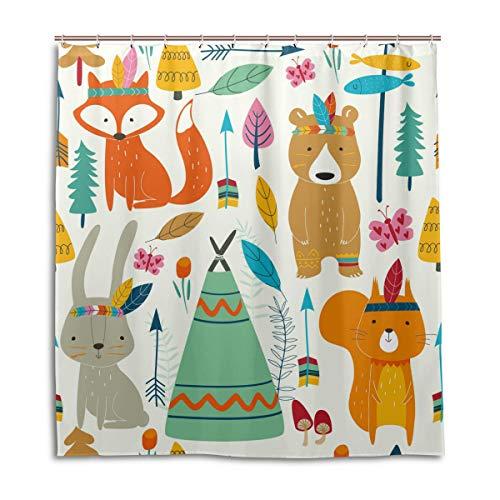 CPYang Duschvorhänge, süßes Tier, Fuchs, Bär, Kaninchen, wasserdicht, schimmelresistent, 168 x 182 cm, mit 12 Haken
