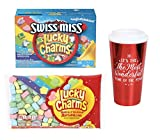 Hot Cocoa Bundle With Marshmallows | Includes: Lucky Charms Cocoa, Lucky Charms Marshmallows, Travel Mug | 16 oz mug, 7 oz marshmallows, and 6 packs of Swiss Miss Lucky Charms cocoa mix