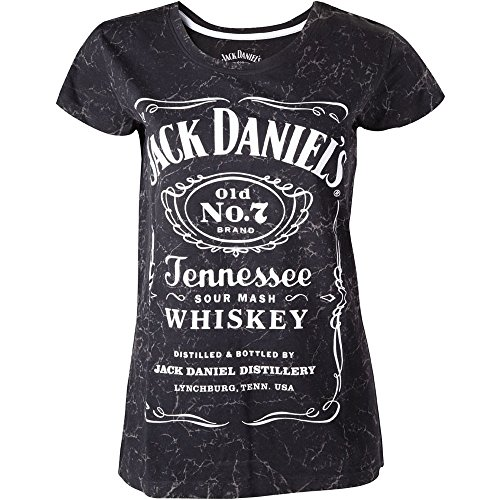 Jack Daniel's Classic Old No.7 Brand Logo with Marble Wash Women's T-Shirt, Grey (ts240738jds-s) Camiseta, Negro (, S para Mujer