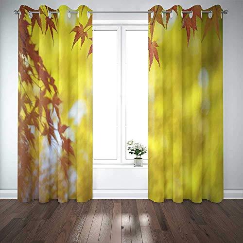 Cortinas de ventana largas, cortina de ventana para puerta, hojas de arce japonés, fondo colorido en otoño, cortinas opacas para ventana, para familiares, amigos, niños, 2 paneles, cortinas para venta