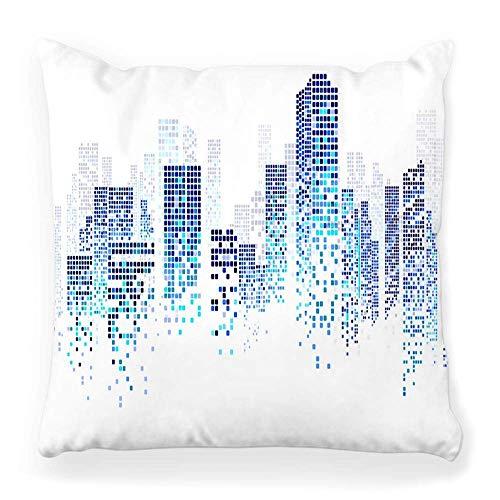 Funda de cojín decorativa cuadrada, 18 x 18 cm, diseño de ciudad, color azul, edificio blanco, concepto urbano auténtico, abstracto y urbano, funda de cojín con cremallera