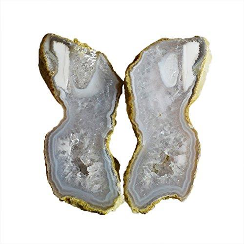 Par de piedras preciosas naturales de ágata diminuta, tamaño 39 x 18 x 9 mm, par de pendientes, pequeña geoda dividida en bandas medias raras, AG-10425