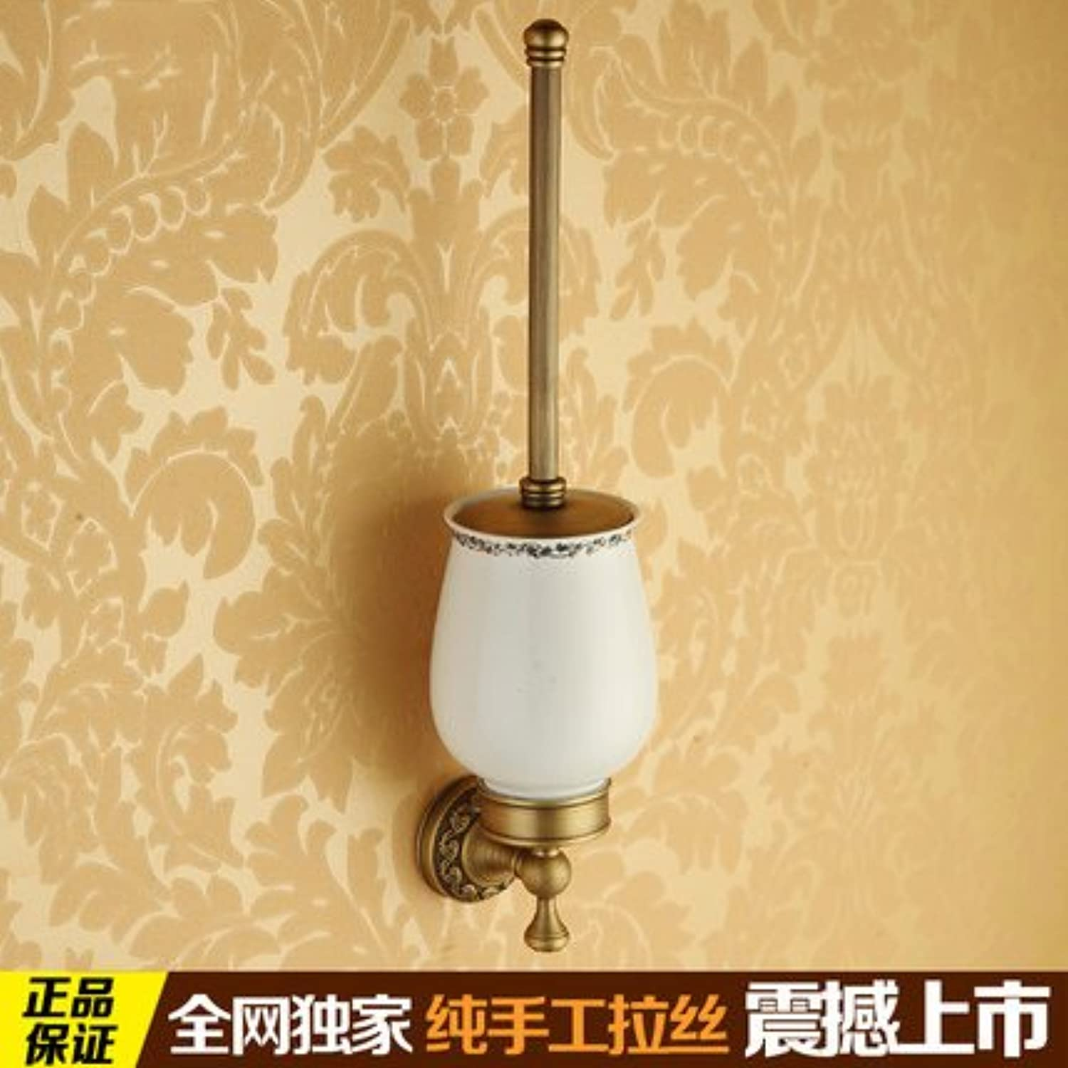 Bathroom copper antique ceramic toilet brush holder-@wei