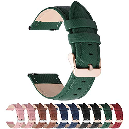 "Cinturino per Orologio, Fullmosa Cross Cinturini in Pelle 18mm, Cinturino Orologio a Sgancio Rapido, per LG Watch Style/huawei watch 1/Asus Zenwatch 2 1.45"",per Uomo / Donna, 18mm Verde"