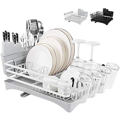 Rottogoon Aluminum Dish Drying Rack, 16.5' x 11.8' Compact Rustproof Dish Rack and Drainboard Set, Dish Drainer with Adjustable Drainage Channel, Removable Cutlery and Cup Holder, Light Gray & Silver