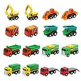 Nuheby Macchinine Giocattolo per Bambini 3 4 5 6 Anni,16 Pezzi Camion Bambino Mini Tirare Indietro Auto Veicoli Bulldozer Escavatore Regalo Ragazza Ragazzo