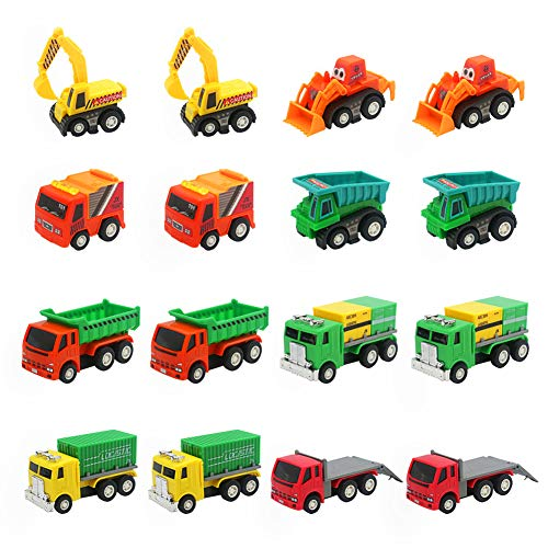 Coches de Juguetes Niños Mini Vehiculos Infantiles Camion 16 Pcs Miniaturas Tire hacia Atrás Coches Maquetas Regalos Navidad Cumpleaños Niños Niñas 3 4 5