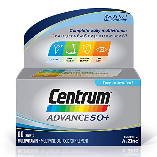 Centrum Advance 50 Plus Multivitamins & Minerals tablet | 60 tablets (2 months supply) | 24 key nutrients Vitamins and Minerals for men and women over 50 | Vitamin D | Complete from A - Zinc*