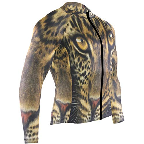 SLHFPX Tiger Face Portrait Mens Cycling Jersey Jacket Long Sleeve Mountain Cycle Clothing Outfit