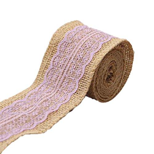 Chilie 2M Multiple Colors Jute Burlap Rolls Ribbon with Lace Wedding Decoration
