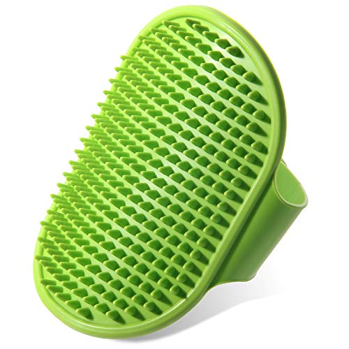Premium New Grooming Pet Shampoo Bath Brush, Best Pet Bathing & Soothing Massage Rubber Comb with Adjustable Ring Handle for Medium & Large Dogs, Cats, Rabbits, Horses- Remove More Dirt & Loose Hair.
