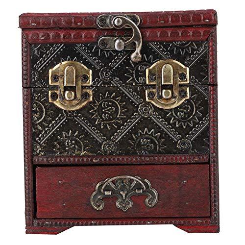 Caja de joyería de madera retro con doble cajón, caja de almacenamiento cosmética, caja de almacenamiento con espejo, se utiliza para un exquisito almacenamiento de anillos y collares