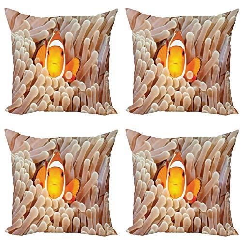 ABAKUHAUS Oceano Set de 4 Fundas para Cojín, Bali Indonesia Peces, Estampado Digital en Ambos Lados y Cremallera, 40 cm x 40 cm, Beige Naranja