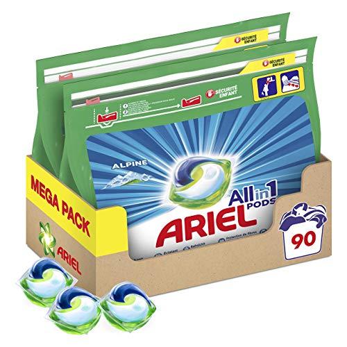 Ariel Pods Allin1 Detergente Lavadora Cápsulas, 90 Lavados (2 x 45), Fragancia Frescor Los Alpes