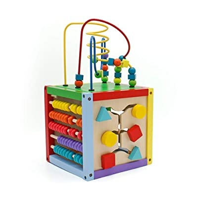 Tenozek 8 x 8 Inch Wooden Learning Bead Maze Cu...