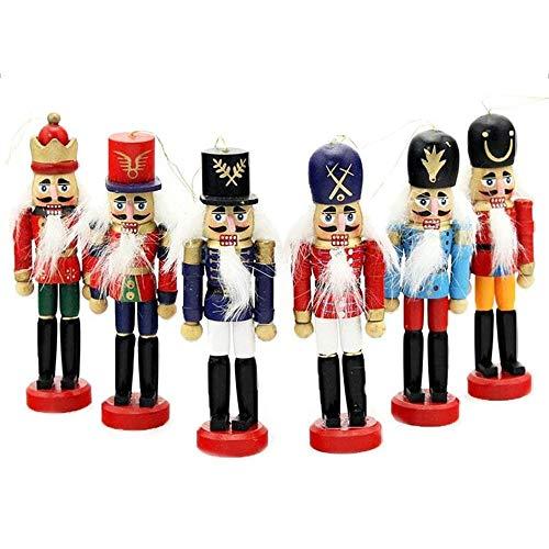 RongXin Traditionelle Weihnachtsdekorationen Hölzerne Nussknacker Soldaten Ornamente, 6er Set Verschiedene Holz Designs & Farben Spielzeug, 4,72 Zoll Ideale Weihnachtspuppe Baumdekorationen