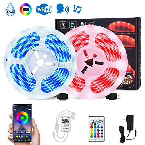 ESHUNQI LED Strip Lichtband, 10M RGB Smart WiFi LED Streifen, SMD5050, APP Steuerbar Musik LED Band Sync zur Musik, Lichterkette für Haus, Küche,TV, Party, kompatibel mit Alexa, Google Assistant