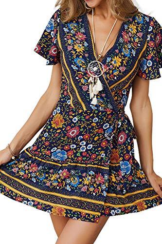 MisShow Strandkleid Navy Partykleid Sexy Blumen Tanzkleid Damen Abendkleid Gemustert Gr. S