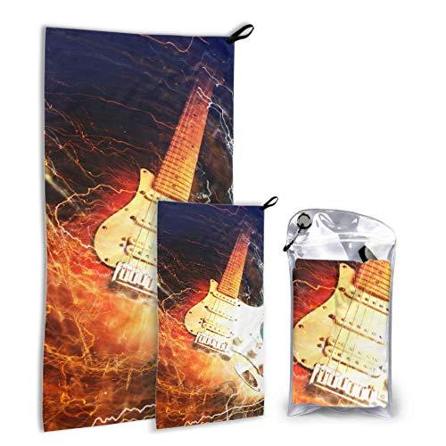 Rtosd Guitarra eléctrica rodeada de relámpagos Paquete de 2 Toallas de baño...