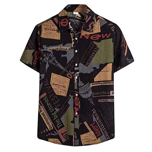 Modaworld Estate Camicetta Colletto alla Moda Hawaiana Abbinamento di Colore Maniche Corte da Uomo Moda Uomo in Cotone e Lino T-Shirt Uomini