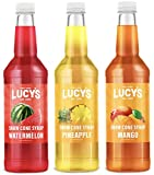 Lucy's Family Owned Shaved Ice Snow Cone Syrups - Watermelon, Pineapple, Mango - 32oz Syrup Bottles (Pack of 3) (Tropical Pack)