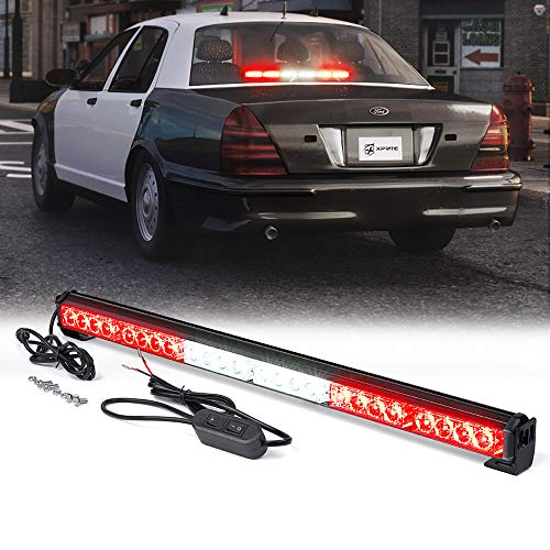 Xprite 27' Inch 24 LED Strobe Emergency Traffic Advisor Warning Light Bar w/ 13 Flashing Patterns for Firefighter Vehicles Trucks Cars - White & Red
