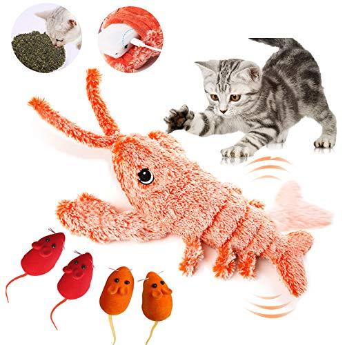 Fansort 5PCS Juguete Eléctrico para Gatos,Recargable USB Juguete Interactivo Gato,Juguetes para Gatos Catnip con 4 Ratón Gato para Morder, Patear y Dormir