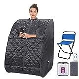 Portable Personal Sauna 2L Home Steam Sauna Tent Folding Indoor Sauna Spa with Remote Control, Timer, Foldable Chair (Dark Grey)