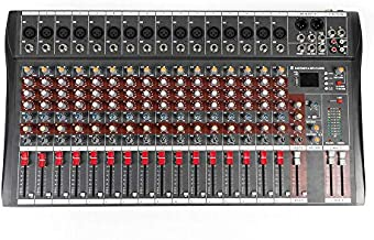Bluetooth Studio Audio Mixer Sound Mixing Console Desk System Interface w/USB Drive for PC Recording Input AC 110V 50Hz 18W for Professional and Beginners Recording Function (16 Channel)