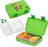 TAKWAY Bento Box mit Unterteilungen - Lunchbox auslaufsicher, Zwei Innenteile - Brotdose Kinder, Vesperdose für die Kita - Jausenbox (grün)
