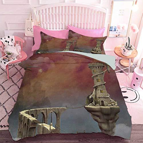 Hiiiman Juego de ropa de cama de 3 piezas Colorido Moderno bosque otoñal con efectos especiales azulados en tonos vivos, diseño sin inserto