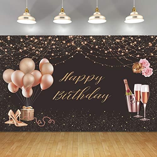 Banner di buon compleanno per donne ragazze, poster in tessuto rosa oro rosa con cartello per 16 ° 18 ° 30 ° 40 ° 50 ° 60 ° 70 ° compleanno festa Photo Booth sfondo sfondo Banner