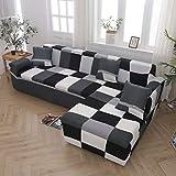 WXQY Funda de sofá Chaise Longue Funda de sofá de Sala de Estar Funda de sofá elástica Todo Incluido a Prueba de Polvo Funda de sofá en Forma de L A16 4 plazas
