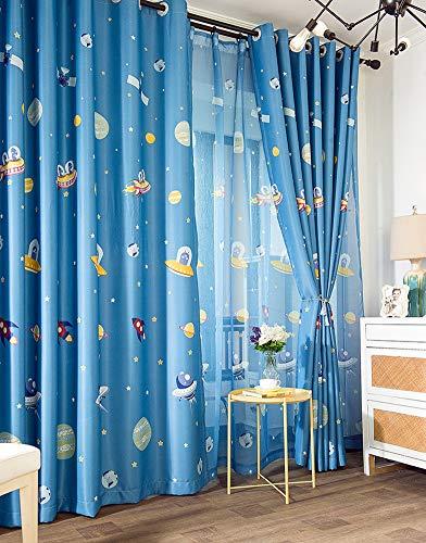 L/S Blau Vorhang Blickdicht Kinderzimmer Jungen 245x140 Sterne Raumschiff Rakete Muster Verdunkelungsgardinen mit Ösen Gardinen Thermo Kinder Babyzimmer Fensterschal