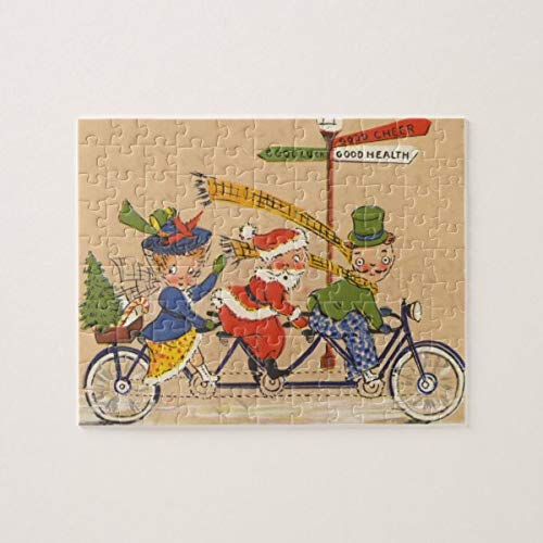 CiCiDi Vintage Christmas, Victorian Santa Claus on Bike Jigsaw Puzzle 1000 Pieces for Adult, Entertainment DIY Toys for Graet Gift Home Decor