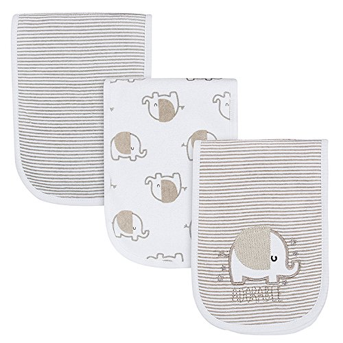Gerber Baby 3-Pack Terry Burp Cloth, Elephant, 18 x 6.25