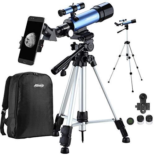 Aomekie Teleskop Kinder Einsteiger 50/360 Fernrohr Teleskop mit 10X Smartphone Adapter Stativ Tasche Barlow und Mondfilter