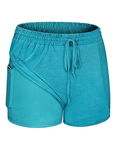 Blevonh Shorts for Women Casual Summer,Running Workout Yoga Athletic Clothes Petite Elastic Band Solid Color Drawstring Inner Pocket Short Women